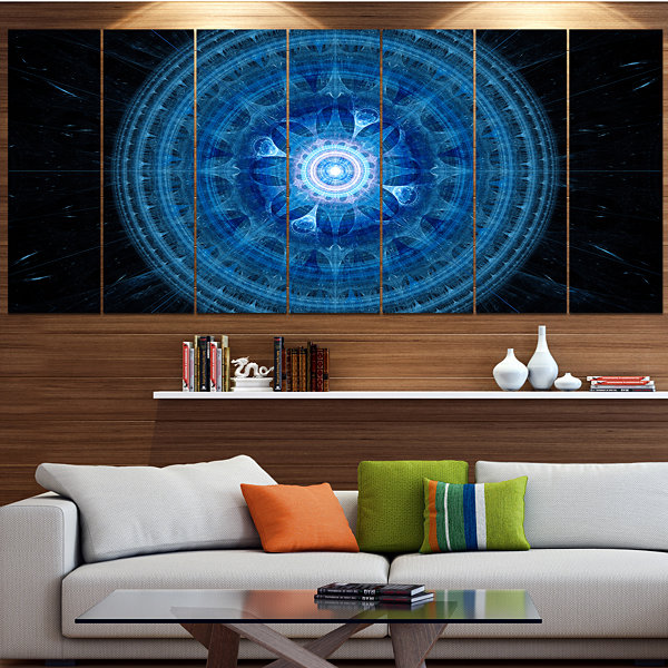 Designart Bright Blue Fractal Sphere Abstract WallArt Canvas - 7 Panels