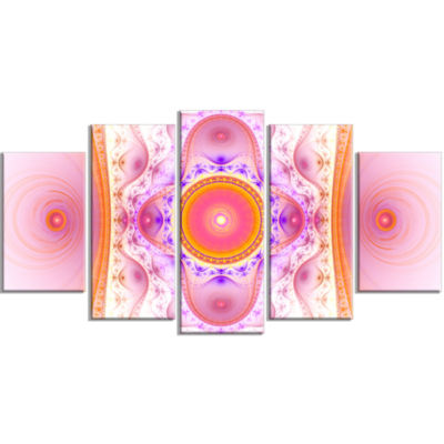 Cabalistic Pink Fractal Design Contemporary Wall Art Canvas - 5 Panels