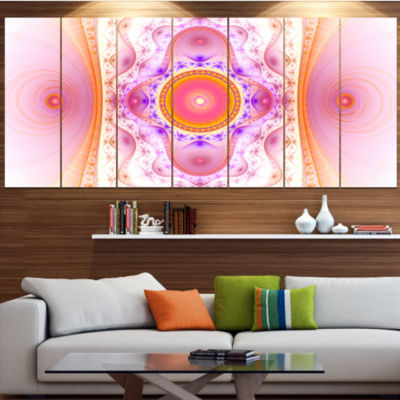 Cabalistic Pink Fractal Design Abstract Wall Art Canvas - 7 Panels