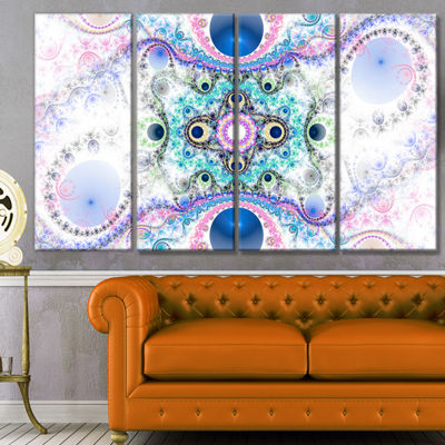 Designart Cryptical Blue Fractal Pattern AbstractWall Art Canvas - 4 Panels