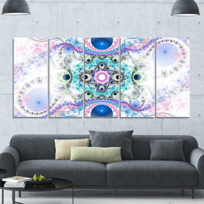 Designart Cryptical Blue Fractal Pattern AbstractWall Art Canvas - 5 Panels