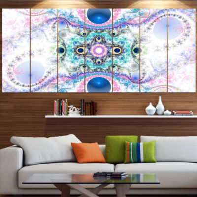 Cryptical Blue Fractal Pattern Abstract Wall Art Canvas - 6 Panels