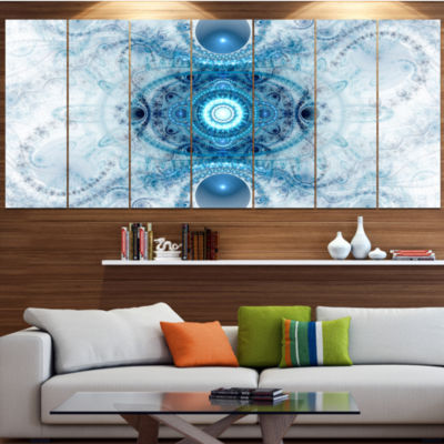 Light Blue Fractal Pattern Abstract Wall Art Canvas - 5 Panels