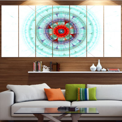 Light Blue Fractal Sphere Abstract Wall Art Canvas- 4 Panels
