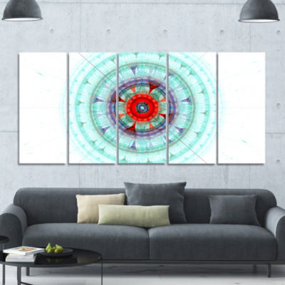 Light Blue Fractal Sphere Abstract Wall Art Canvas- 5 Panels