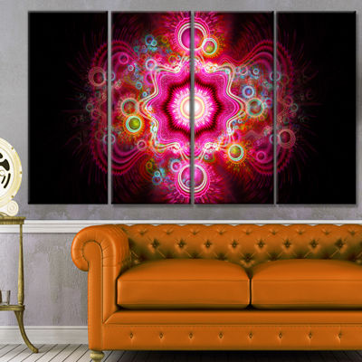 Designart Bright Pink Fractal Flower Abstract WallArt Canvas - 4 Panels