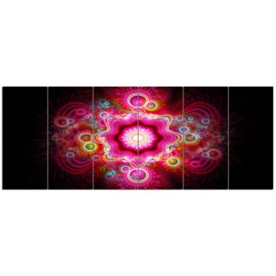 Bright Pink Fractal Flower Abstract Wall Art Canvas - 6 Panels