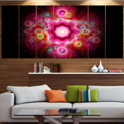 Designart Bright Pink Fractal Flower Abstract WallArt Canvas - 6 Panels