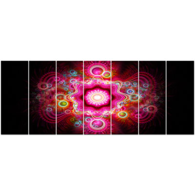 Designart Bright Pink Fractal Flower Abstract WallArt Canvas - 7 Panels