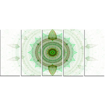 Light Green Cryptical Sphere Abstract Wall Art Canvas - 5 Panels