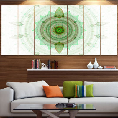 Light Green Cryptical Sphere Abstract Wall Art Canvas - 6 Panels