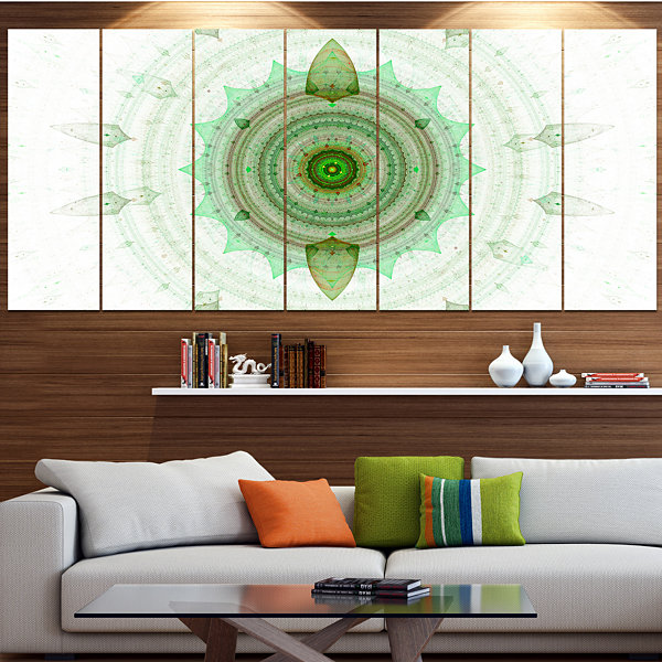 Light Green Cryptical Sphere Abstract Wall Art Canvas - 7 Panels