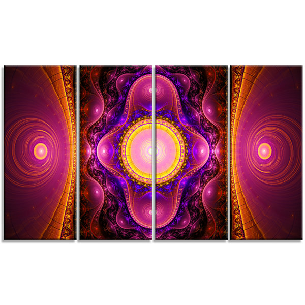Pink Cryptical Fractal Design Abstract Wall Art Canvas - 4 Panels