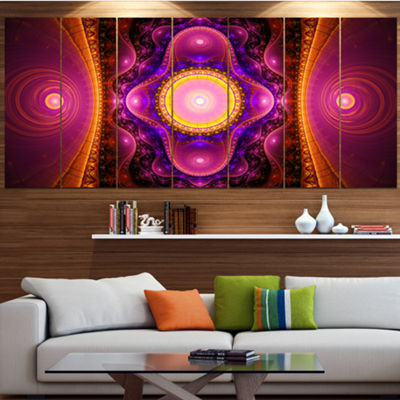 Pink Cryptical Fractal Design Abstract Wall Art Canvas - 7 Panels