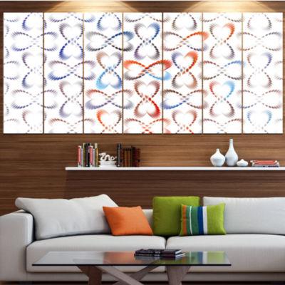 Designart Butterflies Fractal Outline Art Contemporary WallArt Canvas - 5 Panels