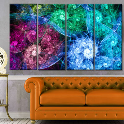 Multi Color Bright Exotic Flowers Abstract Wall Art Canvas - 4 Panels