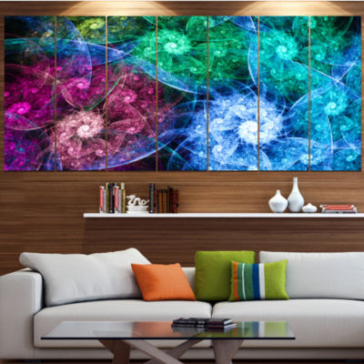 Multi Color Bright Exotic Flowers Abstract Wall Art Canvas - 7 Panels
