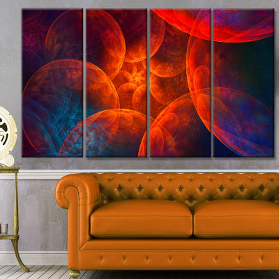 Biblical Sky With Red Clouds Abstract Wall Art Canvas - 4 Panels