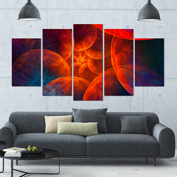 Designart Biblical Sky With Red Clouds Contemporary Wall ArtCanvas - 5 Panels