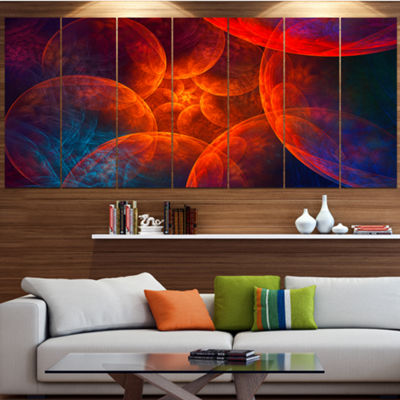 Designart Biblical Sky With Red Clouds Abstract Wall Art Canvas - 7 Panels