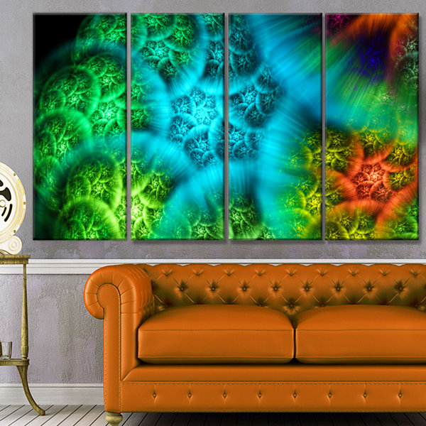 Designart Biblical Sky With Green Clouds AbstractWall Art Canvas - 4 Panels