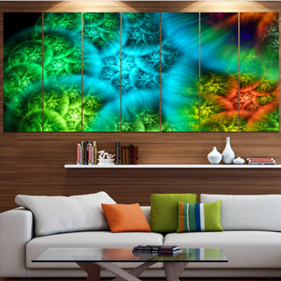 Designart Biblical Sky With Green Clouds AbstractWall Art Canvas - 7 Panels