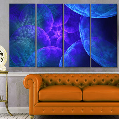 Biblical Sky With Blue Clouds Abstract Wall Art Canvas - 4 Panels