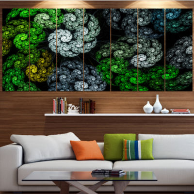 Designart Bright Exotic Spiral Flowers Abstract Wall Art Canvas - 4 Panels