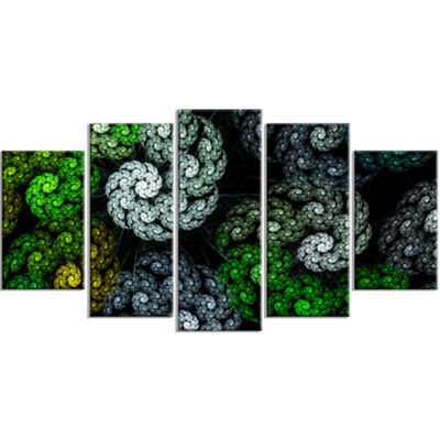 Designart Bright Exotic Spiral Flowers Contemporary Wall ArtCanvas - 5 Panels