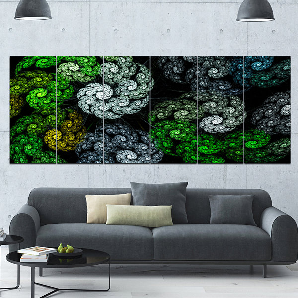 Bright Wall Paneling : Designart bright exotic spiral flowers abstract wall art