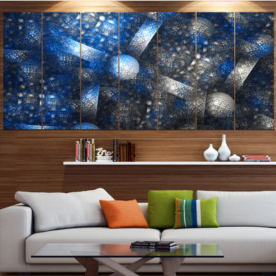 Designart Crystal Cell Dark Blue Steel Texture Abstract WallArt Canvas - 4 Panels