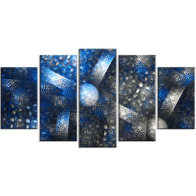 Crystal Cell Dark Blue Steel Texture ContemporaryWall Art Canvas - 5 Panels