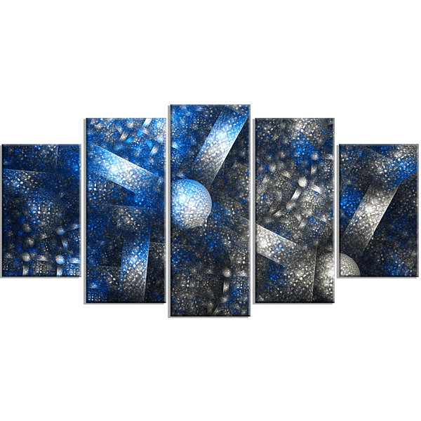 Designart Crystal Cell Dark Blue Steel Texture ContemporaryWall Art Canvas - 5 Panels