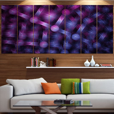 Designart Crystal Cell Purple Steel Texture Abstract Wall Art Canvas - 5 Panels