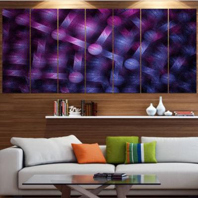 Designart Crystal Cell Purple Steel Texture Abstract Wall Art Canvas - 7 Panels