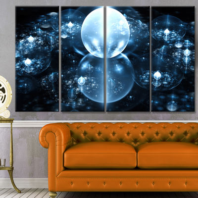 Designart Blue Water Drops On Mirror Abstract WallArt Canvas - 4 Panels