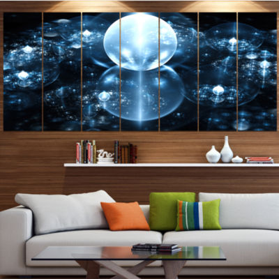 Design Art Blue Water Drops On Mirror Abstract Wall Art Canvas - 5 Panels