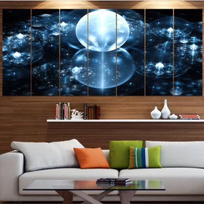 Designart Blue Water Drops On Mirror Abstract WallArt Canvas - 7 Panels
