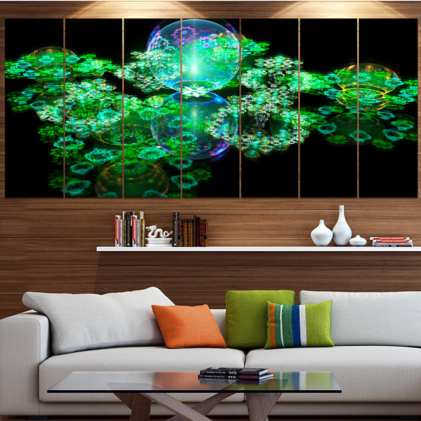 Green Water Drops On Mirror Abstract Canvas Art Print - 4 Panels