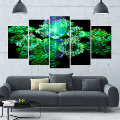 Green Water Drops On Mirror Contemporary Canvas Art Print - 5 Panels