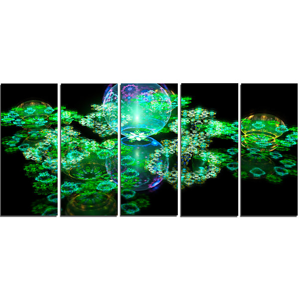 Green Water Drops On Mirror Abstract Canvas Art Print - 5 Panels