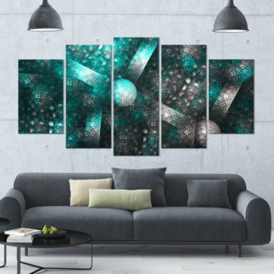 Crystal Cell Blue Steel Texture Contemporary Canvas Art Print - 5 Panels