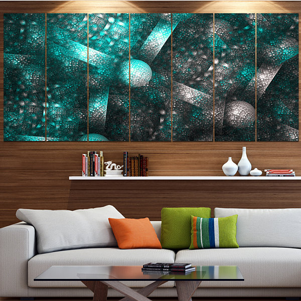Designart Crystal Cell Blue Steel Texture Contemporary Canvas Art Print - 5 Panels