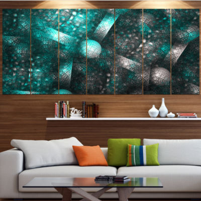 Designart Crystal Cell Blue Steel Texture AbstractCanvas Art Print - 6 Panels