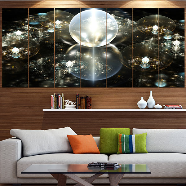 Golden Water Drops On Mirror Abstract Canvas Art Print - 5 Panels