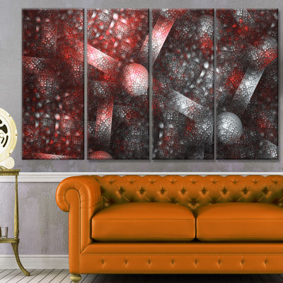 Crystal Cell Red Steel Texture Abstract Canvas ArtPrint - 4 Panels