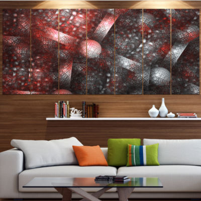 Designart Crystal Cell Red Steel Texture Contemporary CanvasArt Print - 5 Panels