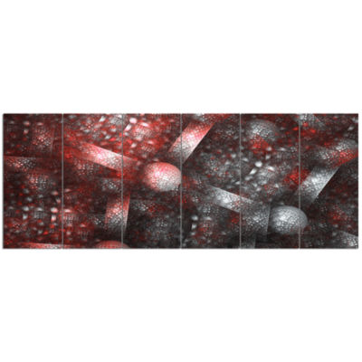 Crystal Cell Red Steel Texture Abstract Canvas ArtPrint - 6 Panels
