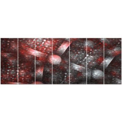 Crystal Cell Red Steel Texture Abstract Canvas ArtPrint - 7 Panels