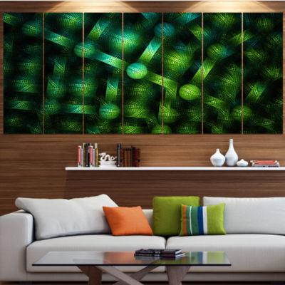 Designart Crystal Cell Green Steel Texture Abstract Canvas Art Print - 4 Panels